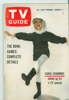 1966 TV Guide Jan 1 Carol Channing Colorado edition Very Good to Excellent - No Mailing Label  [Lt toning and creasing on cover, contents fine]