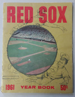 1961 Red Sox Yearbook (50 pg) Carl Yastrzemski Rookie Year Good to Very Good Page 48 heavy cut-outs, wear on binding, pg edges