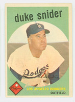 1959 Topps Baseball 20 Duke Snider Los Angeles Dodgers Poor