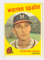 1959 Topps Baseball 40 Warren Spahn Born 1931  Milwaukee Braves Fair to Poor