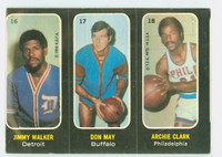 1971 Topps Basketball Trios NBA 16-18 Walker / May / Clark Good to Very Good