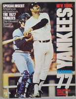 1977 Yankees Yearbook - Chris Chamblis HR on cover  (World Series Champions) Near-Mint Lt wear on cover inc small circular bruise, ow clean