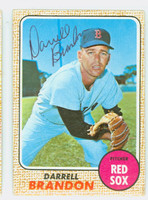 Darrell Brandon AUTOGRAPH 1968 Topps #26 Red Sox CARD IS F/G; CREASES, AUTO CLEAN