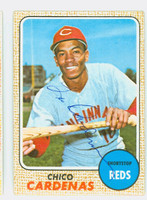 Chico Cardenas AUTOGRAPH 1968 Topps #23 Reds CARD IS F/G; CREASES, AUTO CLEAN