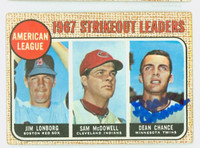 Dean Chance AUTOGRAPH d.15 1968 Topps AL Strikeout Leaders #12 Twins CARD IS G/VG; CRN WEAR, AUTO CLEAN