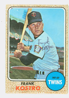 Frank Kostro AUTOGRAPH 1968 Topps #44 Twins CARD IS G/VG; CRN WEAR, AUTO CLEAN
