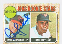 Dave Leonhard AUTOGRAPH 1968 Topps #56 Orioles CARD IS CLEAN EX  [SKU:LeonD1726_T68BBcm]