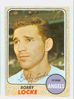 Bob Locke AUTOGRAPH 1968 Topps #24 Angels CARD IS G/VG; CRN WEAR, AUTO CLEAN