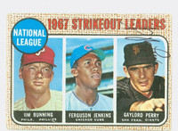 Gaylord Perry AUTOGRAPH 1968 Topps NL Strikeout Leaders #11 Giants CARD IS G/VG; CRN WEAR, AUTO CLEAN