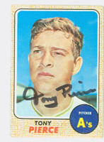 Tony Pierce AUTOGRAPH d.13 1968 Topps #38 Athletics CARD IS G/VG; CRN WEAR, AUTO CLEAN