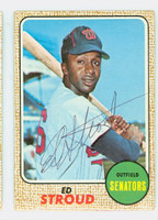 Ed Stroud AUTOGRAPH d.12 1968 Topps #31 Senators CARD IS G/VG; CRN WEAR, AUTO CLEAN