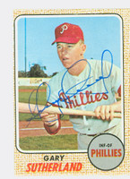 Gary Sutherland AUTOGRAPH 1968 Topps #98 Phillies CARD IS CLEAN VG  [SKU:SuthG1690_T68BBcm]
