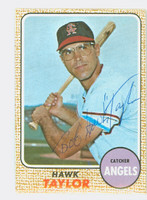 Hawk Taylor AUTOGRAPH d.12 1968 Topps #52 Angels CARD IS VG/EX, AUTO CLEAN  [SKU:TaylH901_T68BBcm]