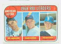 Ken Harrelson AUTOGRAPH 1969 Topps AL RBI Leaders #3 Red Sox CARD IS G/VG; SURF WEAR, CRN WEAR, AUTO CLEAN