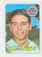 Ken Suarez AUTOGRAPH 1969 Topps #19 Indians CARD IS VG; CRN WEAR, AUTO CLEAN