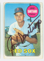 Jose Santiago AUTOGRAPH 1969 Topps #21 Red Sox CARD IS G/VG; CRN WEAR, AUTO CLEAN