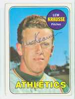Lew Krausse AUTOGRAPH 1969 Topps #23 Athletics CARD IS VG; CRN WEAR, AUTO CLEAN