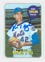Ron Taylor AUTOGRAPH 1969 Topps #72 Mets CARD IS G/VG; CRN CREASE, AUTO CLEAN  [SKU:TaylR1499_T69BBCC]