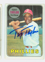 Tony Taylor AUTOGRAPH 1969 Topps #108 Phillies CARD IS F/G; CRN CRUSHES, AUTO CLEAN  [SKU:TaylT1829_T69BBCC]