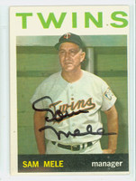 Sam Mele AUTOGRAPH 1964 Topps #54 Twins CARD IS EX
