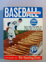 1963 TSN Official Baseball Guide - Mullin cartoon on cover Very Good to Excellent [Lt creases on cover, contents great]