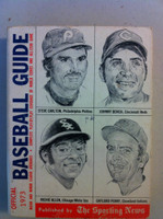 1973 TSN Official Baseball Guide (586 pg) - Cover: Carlton, Bench, Allen, Perry Very Good to Excellent [Lt wear on cover, contents great; price tag on reverse]
