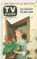 1953 TV Guide May 1 Eve Arden NY Metro edition Very Good to Excellent - No Mailing Label  [Wear, toning and lt staining on cover, ow clean]