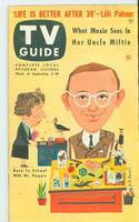 1953 TV Guide Sep 4 Wally Cox NY Metro edition Good to Very Good  [Small cut outs from pages 11-12 and pages A1-A2, ow contents fine]