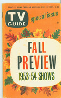 1953 TV Guide Sep 18 Fall Preview 1953-54 Season (No Label) NY Metro edition Excellent - No Mailing Label  [Wear, toning and lt staining on covers, ow clean]