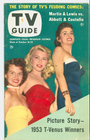 1953 TV Guide Oct 16 TV Beauty Contest Winners (Angie Dickinson) Northwest edition Very Good to Excellent - No Mailing Label  [Lt wear and staining on cover; ow clean; contents fine]