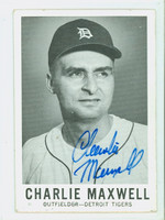 Charlie Maxwell AUTOGRAPH 1960 Leaf #48 Tigers CARD IS VG; CRN WEAR, MARK ON REVERSE