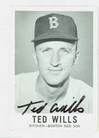 Ted Wills AUTOGRAPH 1960 Leaf #56 Red Sox CARD IS VG; CRN WEAR, MARK ON REVERSE