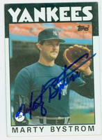 Marty Bystrom AUTOGRAPH 1986 Topps Yankees 
