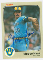 Moose Haas AUTOGRAPH 1983 Fleer Brewers 