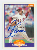 Don Carman AUTOGRAPH 1989 Score Phillies 