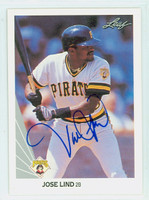 Jose Lind AUTOGRAPH 1990 Leaf Pirates 