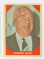 Warren Giles AUTOGRAPH d.79 1960 Fleer Greats #73 