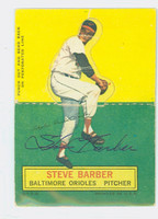 Steve Barber AUTOGRAPH d.07 1964 Topps Stand-ups #8 Orioles CARD IS F/G; LT CREASE, PART FOLDED, AUTO CLEAN