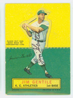 Jim Gentile AUTOGRAPH 1964 Topps Stand-ups #27 Athletics CARD IS CLEAN VG; LT CREASE, AUTO CLEAN