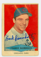 Frank Baumholtz AUTOGRAPH d.97 1954 Red Heart #2 Cubs CARD IS F/G; SURF WEAR, AUTO CLEAN