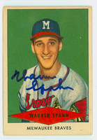 Warren Spahn AUTOGRAPH d.03 1954 Red Heart #30 Braves CARD IS CLEAN VG, CRN WEAR; AUTO CLEAN