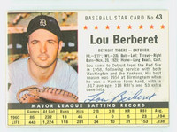 Lou Berberet AUTOGRAPH d.04 1961 Post #43 Red Sox BOX CARD IS CLEAN EX
