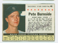 Pete Burnside AUTOGRAPH 1961 Post #46 Tigers BOX CARD IS G/VG; LT CREASE