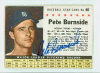 Pete Burnside AUTOGRAPH 1961 Post #46 Tigers BOX CARD IS F/P; HEAVY CREASE, MARK ON REVERSE