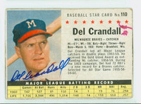 Del Crandall AUTOGRAPH 1961 Post #110 Braves BOX CARD IS POOR, VERY HEAVY SURF WEAR