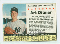 Art Ditmar AUTOGRAPH 1961 Post #16 Yankees BOX CARD IS CLEAN VG, SL MISCUT ON EDGES