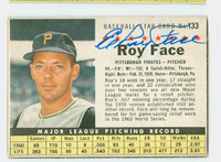 Roy Face AUTOGRAPH 1961 Post #133 Pirates BOX CARD IS VG; CRN WEAR
