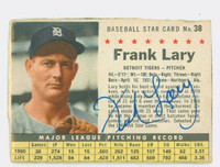 Frank Lary AUTOGRAPH 1961 Post #38 Tigers BOX CARD IS POOR; HEAVY CREASING