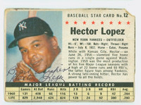 Hector Lopez AUTOGRAPH 1961 Post #12 Yankees BOX CARD IS F/P; CRN IS TORN, AUTO CLEAN