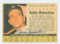 Bobby Richardson AUTOGRAPH 1961 Post #8 Yankees COMP CARD IS F/P; HEAVY CREASING, DISCOLORATION, AUTO CLEAN  [SKU:RichB568_PO61BBVbjl]
